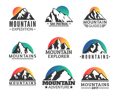 terrain: Hand drawn Mountains Logo set. Ski Resort vector icons, mountain silhouette elements. Ride and Snowboarding symbols isolated, travel labels