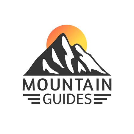 Hand drawn Mountains Logo set. Ski Resort vector icons, mountain silhouette elements. Ride and Snowboarding symbols isolated, travel labels