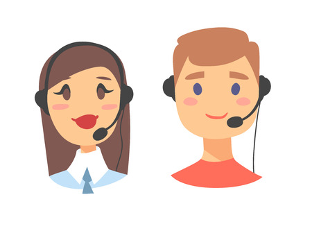 support phone operator: Portrait of happy smiling customer support phone operator. Callcenter worker with headset. Cartoon vector illustration woman and man agent