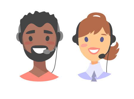 correspondent: Portrait of happy smiling customer support phone operator. Callcenter worker with headset. Cartoon vector illustration european woman and black man agent