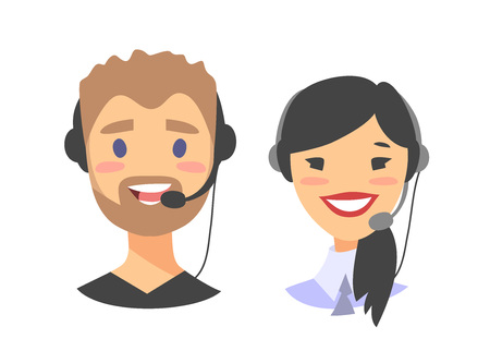 Portrait of happy smiling customer support phone operator. Callcenter worker with headset. Cartoon vector illustration asian woman and european man agent Illustration