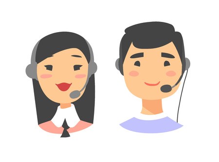 Portrait of happy smiling customer support phone operator. Callcenter worker with headset. Cartoon vector illustration asian woman and asian man agent