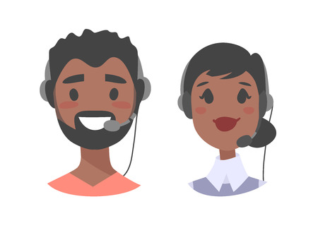 support phone operator: Portrait of happy smiling customer support phone operator. Callcenter worker with headset. Cartoon vector illustration black woman and black man agent