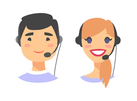 Portrait of happy smiling customer support phone operator. Callcenter worker with headset. Cartoon vector illustration european woman and asian man agent