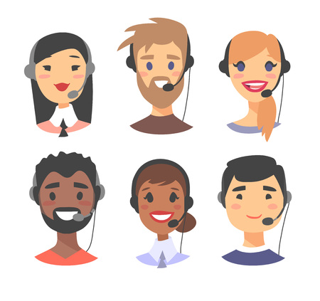 support phone operator in headset: Portrait of happy smiling customer support phone operator. Callcenter worker with headset. Cartoon vector illustration women and men agent