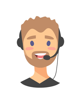 support phone operator in headset: Portrait of happy smiling male customer support phone operator. callcenter worker with headset. Cartoon vector illustration man agent. Boy emoji