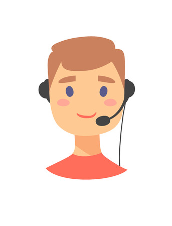 Portrait of happy smiling male customer support phone operator. callcenter worker with headset. Cartoon vector illustration man agent. Boy emoji