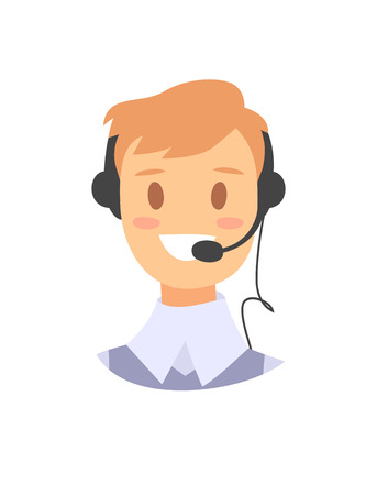 support phone operator: Portrait of happy smiling male customer support phone operator. callcenter worker with headset. Cartoon vector illustration man agent. Boy emoji