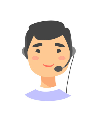correspondent: Portrait of happy smiling male customer support phone operator. Asian callcenter worker with headset. Cartoon vector illustration man agent. Boy emoji Illustration