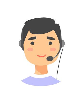 Portrait of happy smiling male customer support phone operator. Asian callcenter worker with headset. Cartoon vector illustration man agent. Boy emoji Illustration