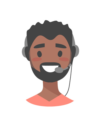 support phone operator in headset: Portrait of happy smiling male customer support phone operator. Black callcenter worker with headset. Cartoon vector illustration man agent. Boy emoji Illustration