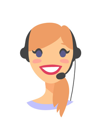 Portrait of happy smiling female customer support phone operator. Callcenter worker with headset. Cartoon vector illustration woman agent. Girl emoji avatar