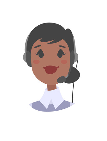 support phone operator: Portrait of happy smiling female customer support phone operator. Callcenter worker with headset. Cartoon vector illustration woman agent. Girl emoji avatar