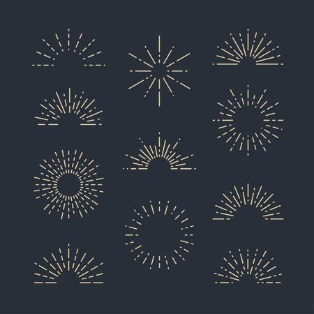 mainstream: Set of Vintage Sunbursts in Different Shapes. Trendy Hand Drawn Retro Bursting Rays Design Elements. Hipster Vector illustration Stock Photo