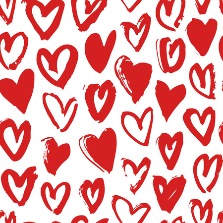 actual: Hand drawn paint seamless pattern. Red and white vector hearts background. Abstract brush drawing Illustration