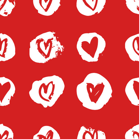 Hand drawn paint seamless pattern. Red and white vector hearts background. Abstract brush drawing 版權商用圖片