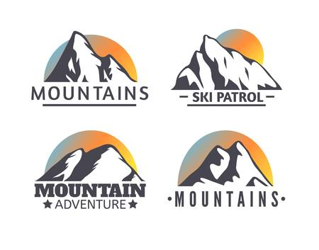 mounting: Hand drawn Mountains Logo set. Ski Resort vector icons, mountain silhouette elements