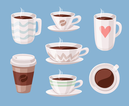 contemporary taste: Set of Cartoon Style Coffee Cup. Vector Illustration Hand Drawn Caffeine Drinks