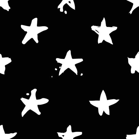 Hand drawn paint seamless pattern. Black and white stars background