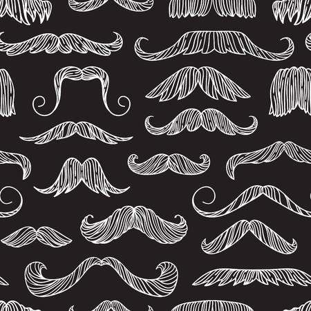 Seamless pattern with hand drawn old fashion mustaches. Black contour artistic drawing