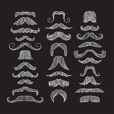 Set of hand drawn old fashion mustaches. Black contour artistic drawing. Actual hipster vector. Male barber sahop illustration