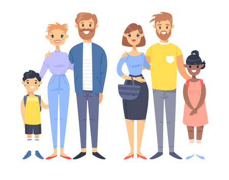 Set of young couples with adopted kids. Hand drawn women, men, asian boy and black girl. Flat style vector illustration family. Cartoon characters isolated on white background Ilustracja
