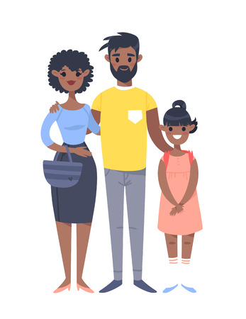 Young couple with daughter. Hand drawn black woman, man and girl. Flat style vector illustration family. Cartoon characters