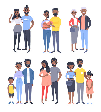 Set of different black couples and families