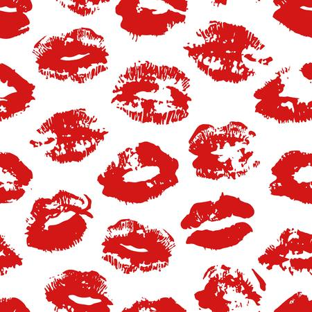 Hand drawn fashion illustration lipstick kiss. Female vector seamless pattern with red lips. Romantic vector background