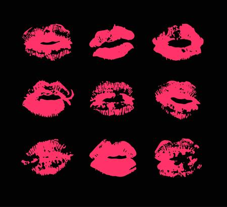 Hand drawn fashion illustration lipstick kiss. Female vector card with red lips