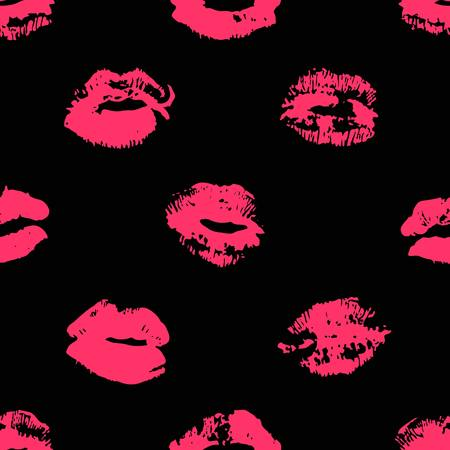 Hand drawn fashion illustration lipstick kiss. Female vector seamless pattern with red lips