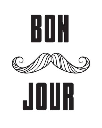 Hand drawn old fashion mustaches illustration. Actual hipster vector. Male barber shop print. Card with french text