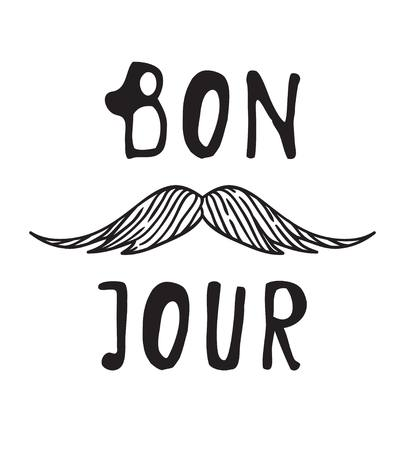 mainstream: Hand drawn old fashion mustaches illustration. Actual hipster vector. Male barber shop print. Card with french text
