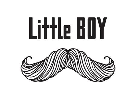 Hand drawn old fashion mustaches illustration. Actual hipster vector. Male barber shop print. Card with text Little boy