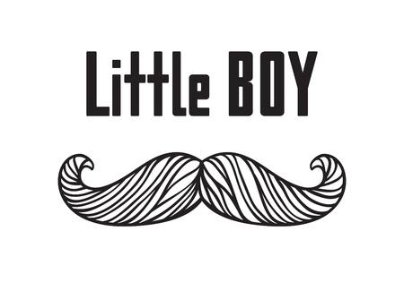 Hand drawn old fashion mustaches illustration. Black contour artistic drawing. Actual hipster vector. Male barber shop print. Card with text Little boy