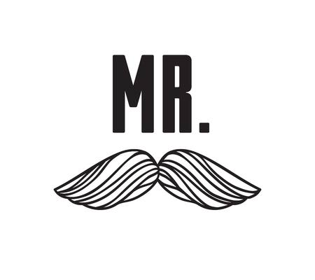 Hand drawn old fashion mustaches illustration. Black contour artistic drawing. Actual hipster vector. Male barber shop print. Wedding card with text Mr