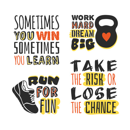 Set of text templates for designs, Sport Motivation Quote, Positive typography for poster, t-shirt or card.