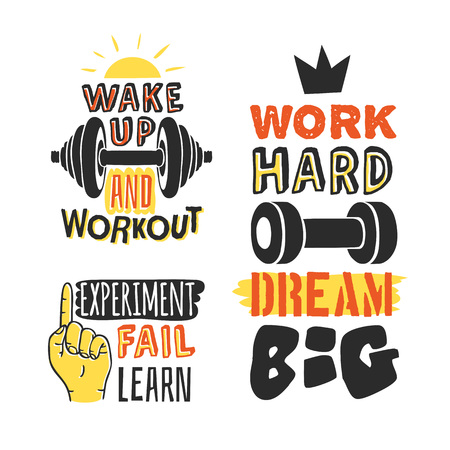 Set of text templates for design, Sport Motivation Quote, Positive typography for poster, t-shirt or card