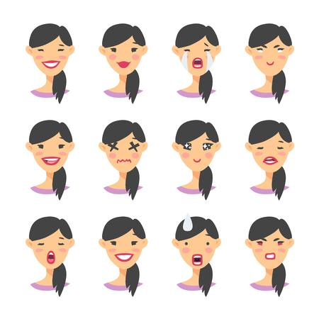 Set of asian emoji character. Cartoon style emotion icons. Isolated girl avatars with different facial expressions. Flat illustration womens emotional faces. Hand drawn vector.
