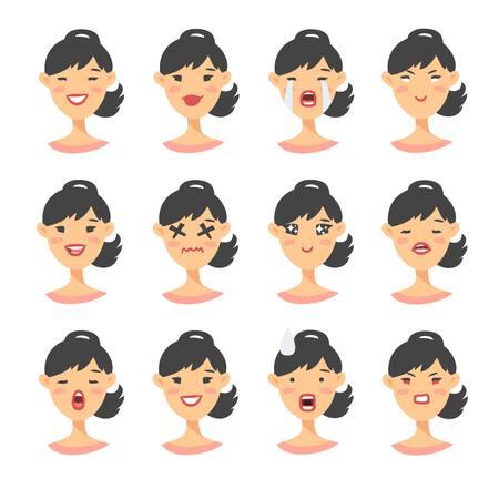 Ensemble de personnages emoji asiatiques. Banque d'images - 75744113