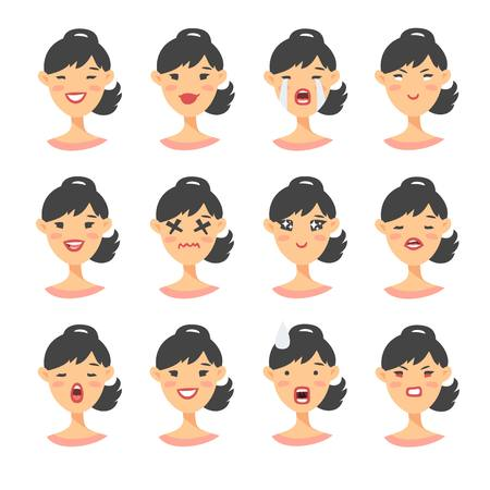 Set of asian emoji character. 向量圖像