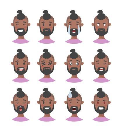 Ensemble de personnages emoji masculins. Banque d'images - 75744124