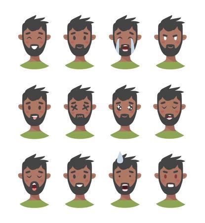 Ensemble de personnages emoji masculins. Banque d'images - 75744119