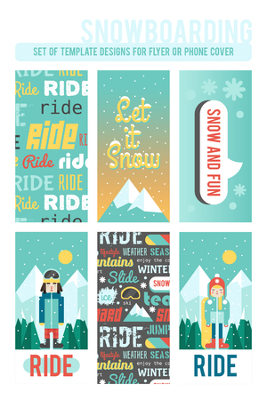 Set of template designs for flyer or phone cover. Cute flat style. Snowboarding and winter time. Illustration