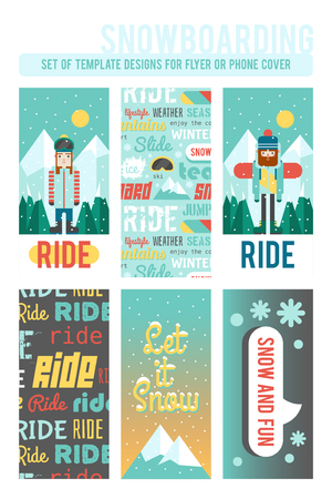 mainstream: Set of template designs for flyer or phone cover. Cute flat style. Snowboarding and winter time. Illustration