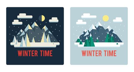 Set of winter landscapes (day and night). Mountains. Cute flat style.