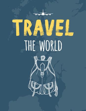 여행 세계,지도, 비행기, 배낭