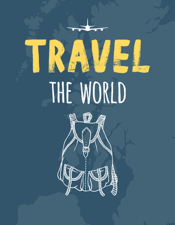 TRAVEL the world, map, airplane, backpack Illustration