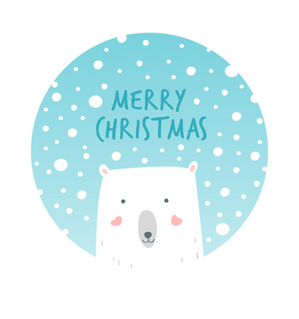 Cartoon Illustration Christmas Polar and Snow. Hand drawn cute illustration white bear. Christmas card. Vector illustration christmas mood. Christmas greetings with polar bear and snow.
