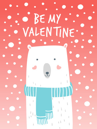 Cartoon Illustration Romantic Polar and Snow. Hand drawn cute illustration white bear. Valentine's card. Vector illustration romantic mood. Valentine's greetings with polar bear and snow.